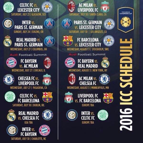 International Campions Cup. Расписание
