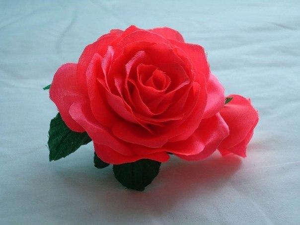 Роза из атласа мастер класс