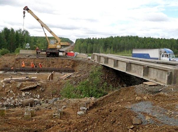 Ремонт моста через реку Илуйку