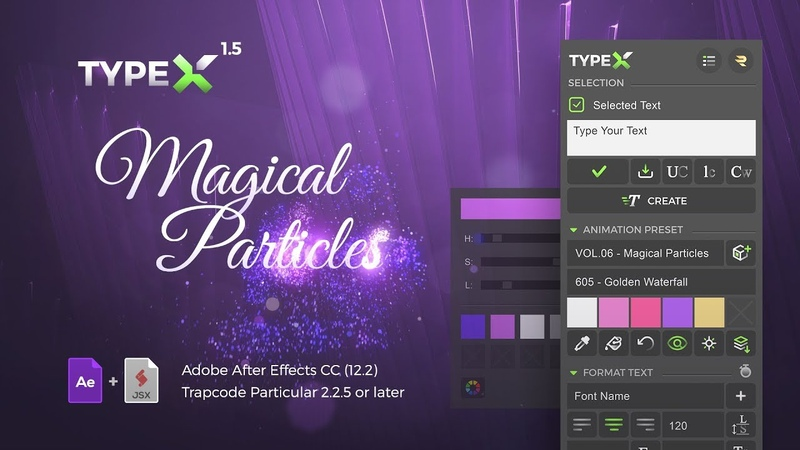 TypeX Text Animation Tool Pack 06 Magical Particles Handwritten Calligraphic Titles