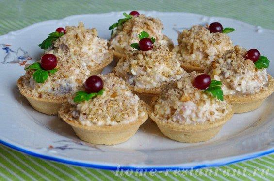 Рецепты тарталеток копченой курица с грибами