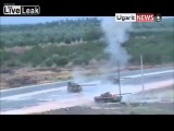 LiveLeak Syria: T-72 is knocked out by RPG while trying to save another t-72.