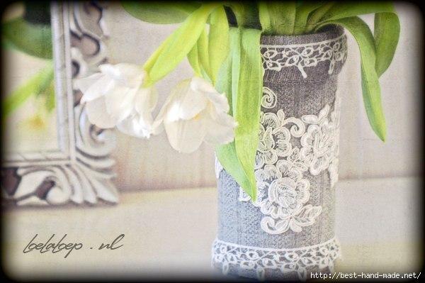 Как декорировать кружевом вазу