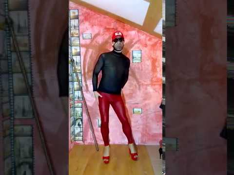 LEGION GIMENEUS, Transparent turtleneck, red leather leggings, red stripes 3
