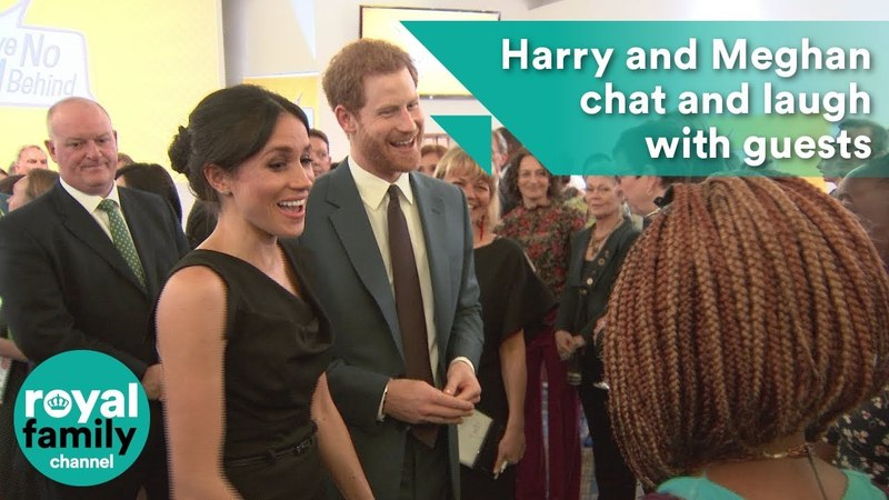 Prince Harry and Meghan Markle chat and laugh with guests at women's empowerment event