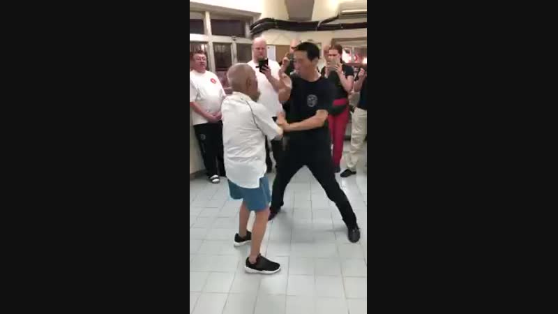 94 year old son of IP Man sparring with Sifu Grand Master Samuel Kwok