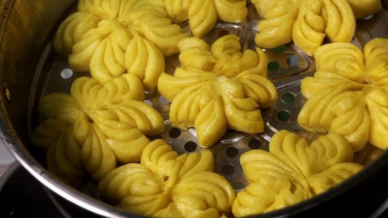 做菜的徐小徐 南瓜花卷做法,簡單易學,出鍋色澤金黃,外形超好 30475