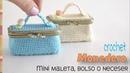 Monedero mini maleta, bolso o neceser con broche o boquilla tejido a crochet / Tejiendo Perú