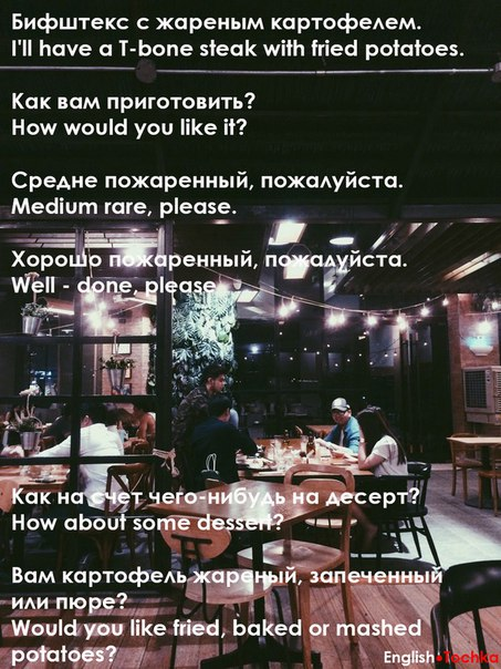На заметку, чтоб не растеряться в ресторане и суметь сделать заказ!🙂🙃
