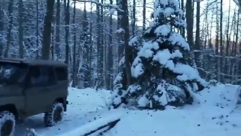 УАЗ на вояках с редукторами трактора т 40 Летающие УАЗы в зимнем лесу очень инт