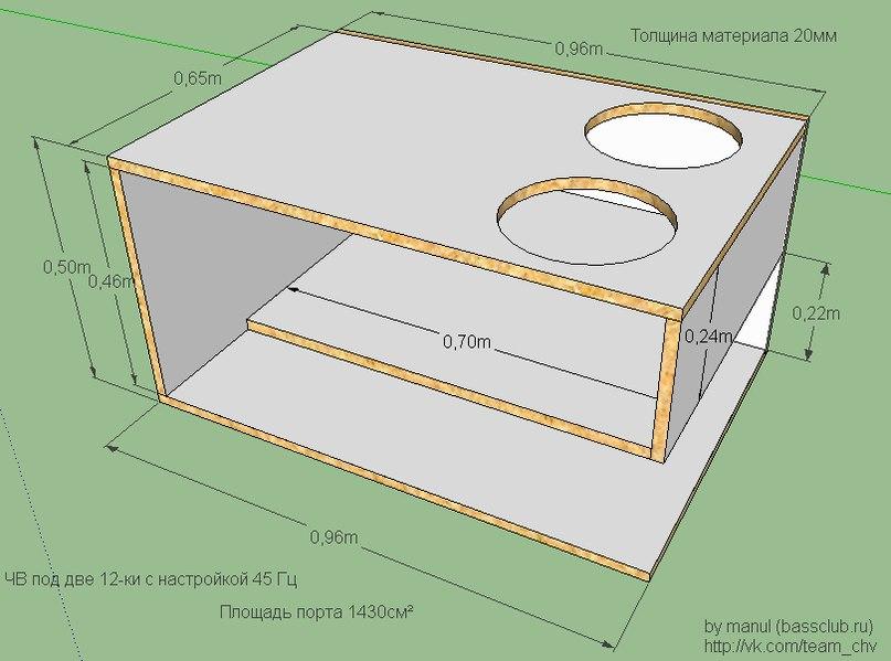 Как сделать короб для 2 сабвуферов