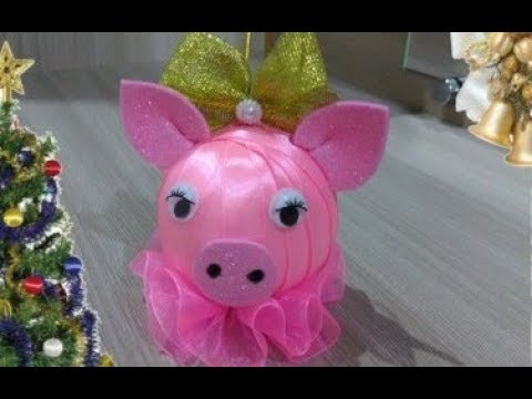 Символ 2019 года свинка Елочная игрушка из лент Mumps Christmas tree decoration with ribbons