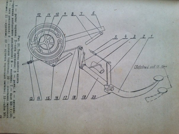 17) Тормоз заднего колеса: