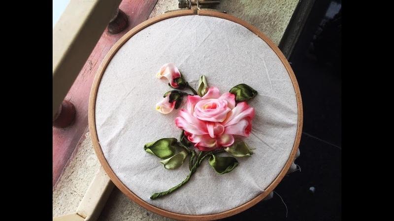 D.I.Y Ribbon Embroidery Rose Hướng dẫn thêu hoa hồng tô màu