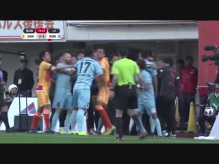 J-League superstars Andres Iniesta and Lukas Podolski were involved in a mass brawl after conceding a 104th-minute equaliser...