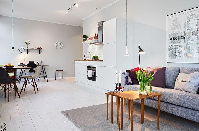 Интерьер квартиры-студии 39 м в Гётеборге / Швеция - http://kvartirastudio.