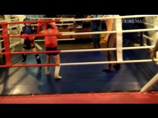 Чемпионат по тайскому боксу. г. Тутаев . Саламатов Кирилл (синий угол)