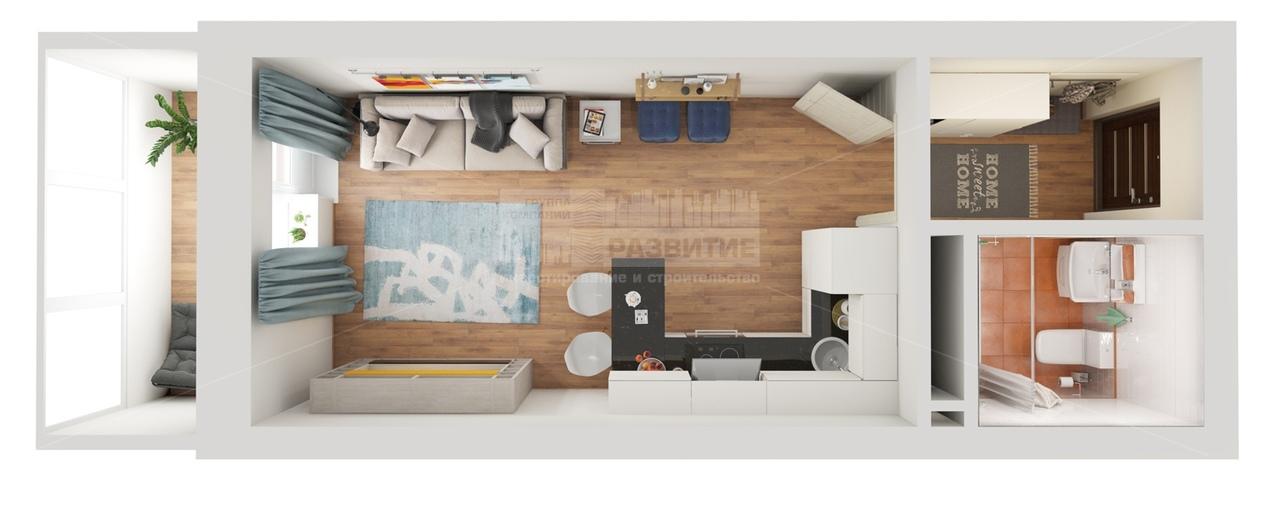 Проект для прямоугольных студий 23-29 кв.