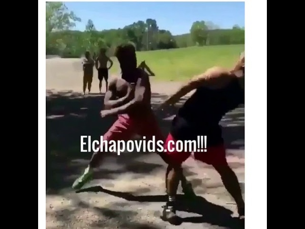 White guy knocks out black guy with spinning punch