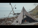 3 days solo bushcraft - canvas tent, cooking on hot stone, adjustable pot hanger