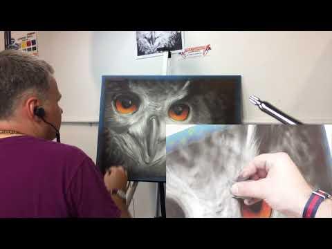 Как рисовать сову аэрографом GSI Creos PS270 и красками Createx Illustration Colors