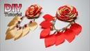 DIY || Tutorial Rolled Rose | Satin Ribbon | Cara membuat bros mawar doa warna dengan juntai daun
