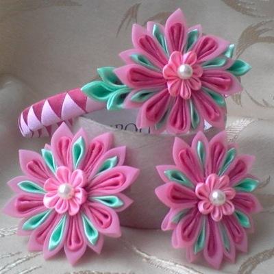 Новые цветы из лент мастер класс видео