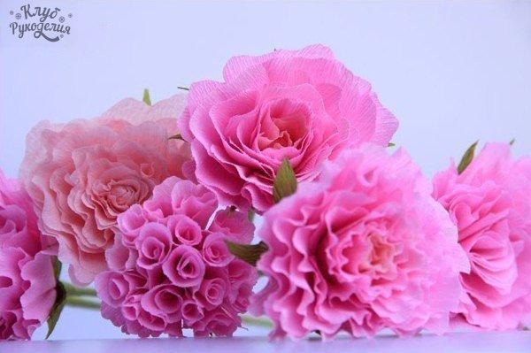 Делаем цветы из гофрированной бумаги. (6 фото) - картинка