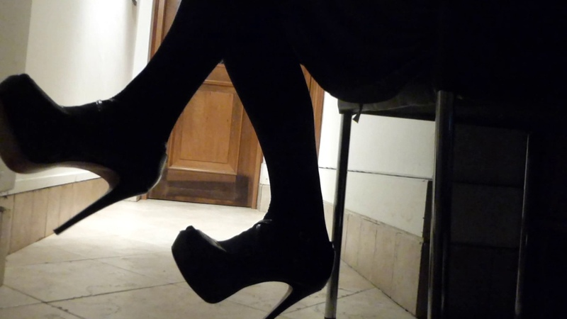Patent Open Toe Stilettos Grey Dress Black Stockings Teasing Flashing Upskirt