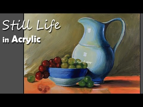 Realistic Still Life in Acrylic Jug Dish Fruits painting step by step