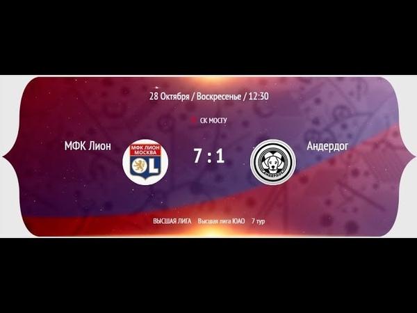 НМФЛ 2018-19. Высшая лига ЮАО. (2-тайм) МФК Лион - МФК Андердог 7:1