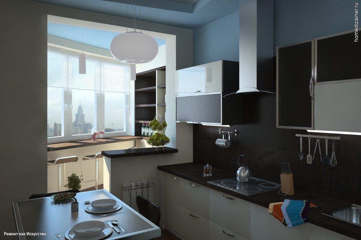 Объединение балкона с кухней (55 фото).
