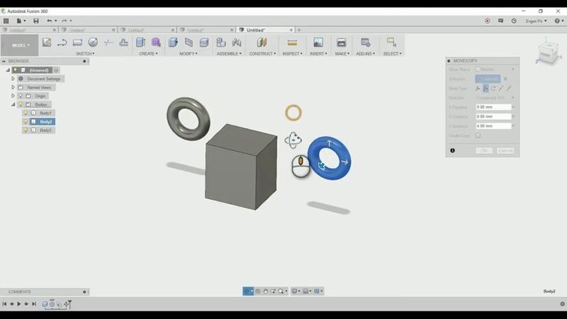 Fusion 360 - MoveCopyCombine - Операции ПереместитьКопироватьОбъединить