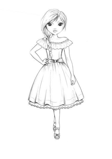 Модная девочка раскраска