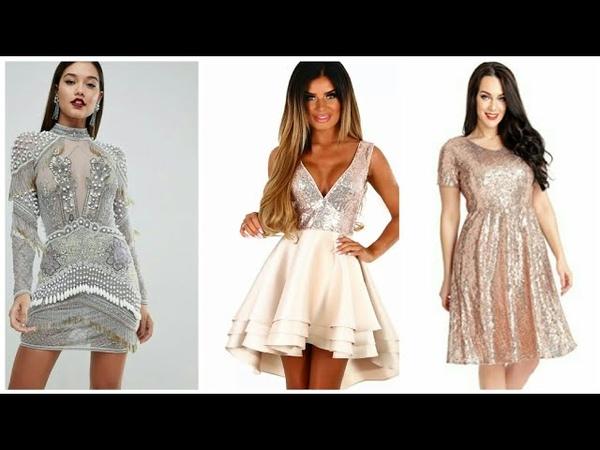 Vestidos con brillos de noche cortos ☃ Vestidos con brillo para navidad
