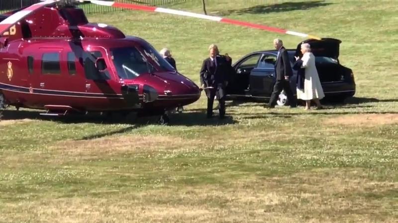 Princess Charlotte waving goodbye to grandparents prince Charles and Camilla.