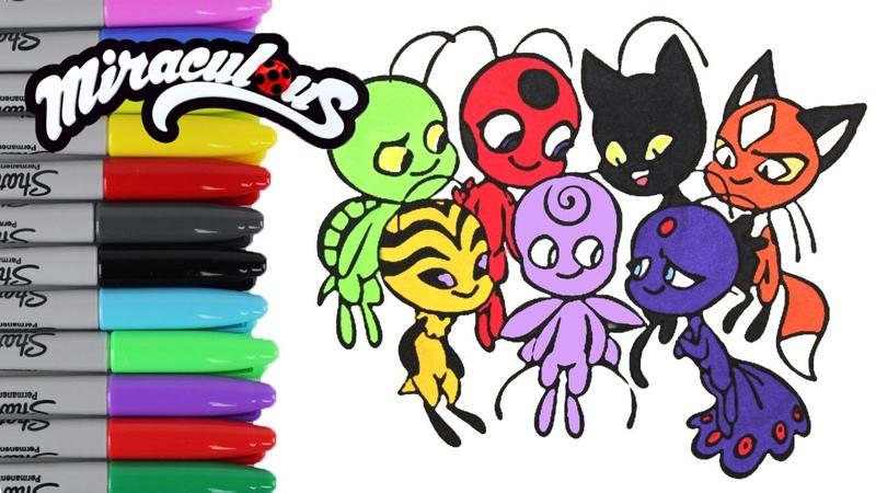 Miraculous Ladybug Coloring Book Pages Season 2 Kwami's Plagg Tikki Fox Turtle