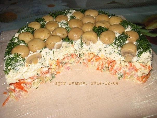 Салат Грибная поляна закусочный торт .