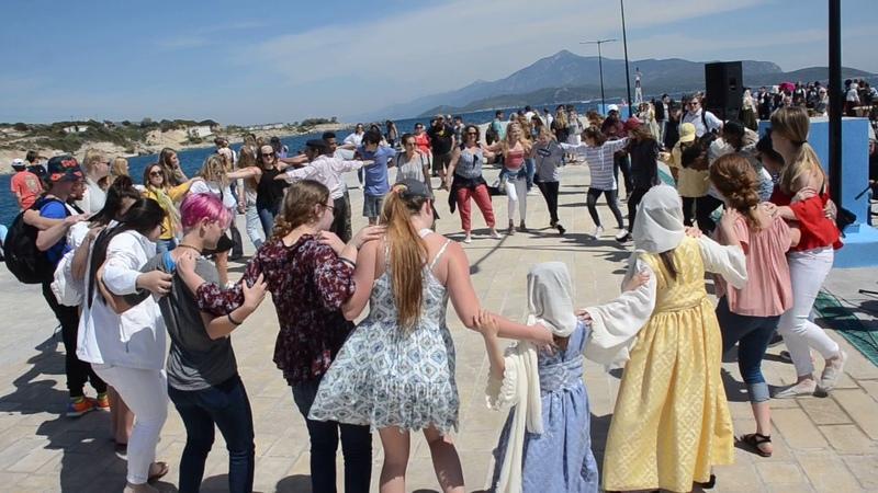 Samos Zorba dance at Pythagorion Port Samos Island Greece 2017