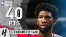 Joel Embiid Full Highlights 76ers vs Pacers 2018.12.14 - 40 Pts, 3 Ast, 21 Rebounds!