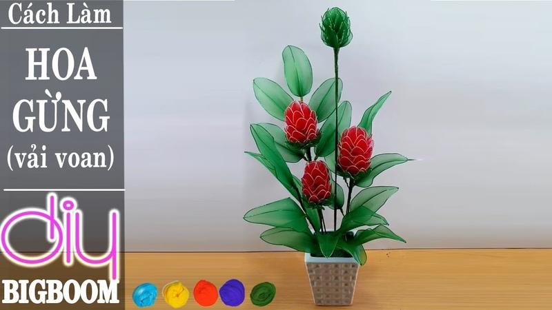 Hướng dẫn cách tự làm Hoa Gừng bằng vải voan đơn giản mà đẹp | DBB-VN