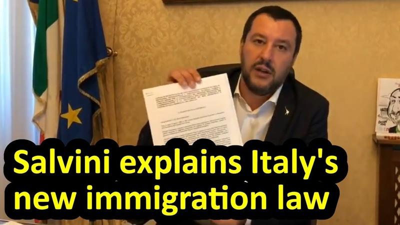 Matteo Salvini explains Italy's new immigration security law, English subtitles, Decreto Salvini