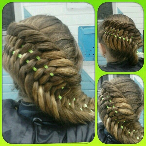 Новое плетение кос с лентами