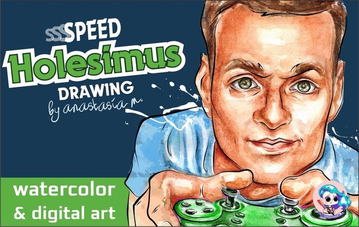 Как рисовать Холесимуса акварелью и в фотошопе | How to draw blogger by watercolor Photoshop