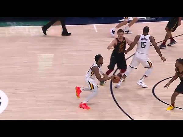 Donovan Mitchell finds a clear path to the bucket and slams it home