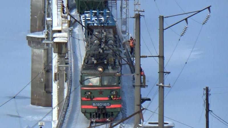 ВЛ80с-1615 с грузовым составом. Перегон 9 км Окская. Сартаковский жд мост