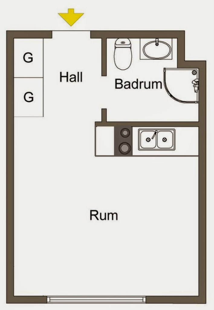 Маленькая квартира-студия 19 м.
