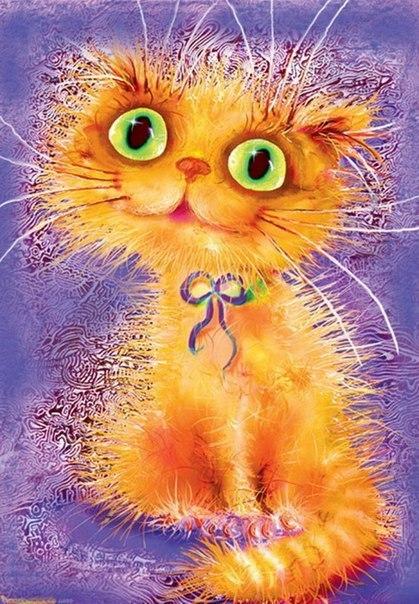 Позитивные коты и кошки художника Бориса Касьянова