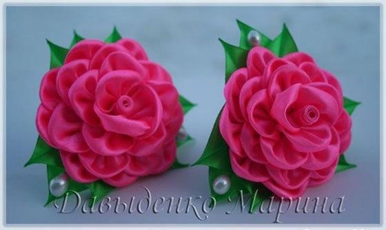 Канзаши. Роза из круглых лепестков. (9 фото) - картинка