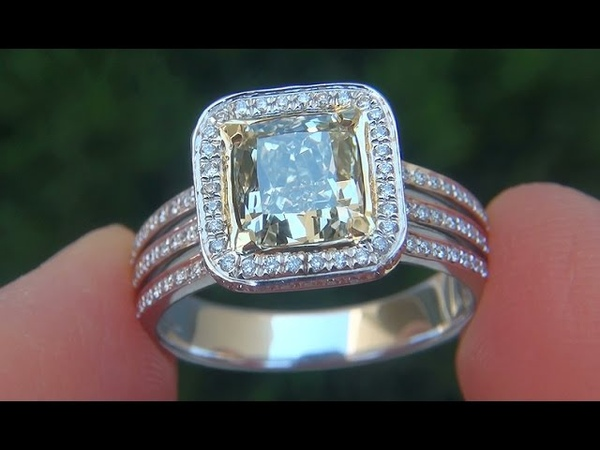 GIA Certified SI1 Natural Fancy Green Yellow Diamond 14k Gold Engagement Wedding Ring - C443